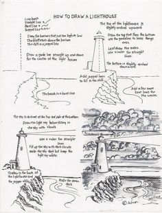 How To Draw A Lighthouse Tutorial. This tutorial shows you how to draw a lighthouse scene using a pen or pencil as the medium. Art Lessons, Sketches, Art Instructions, Sketch Book, Art Drawings, Drawing Tutorial, Art, Art Tutorials, Landscape Drawings