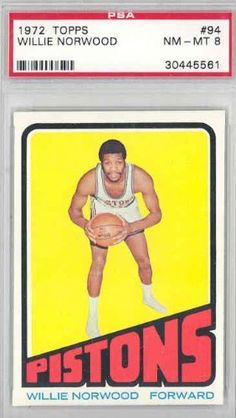 1972 Topps Basketball 94 Willie Norwood Pistons PSA 8 Near-Mint to Mint by Topps. $10.00. This vintage card featuring Willie Norwood is # 94 from the 1972 Topps Basketball set