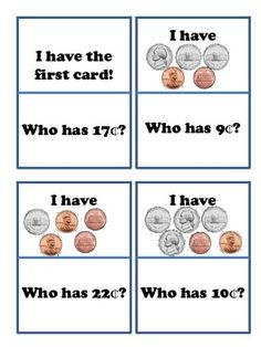 """Here's an """"I Have, Who Has?"""" activity for counting coins using pennies and nickels."""