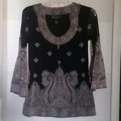 Black and soft pink tunic top Black and soft pink tunic top with beautiful pattern. 3/4 length bell sleeves. Nylon. Sheer sleeves. International Concepts Tops Tunics