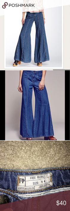Free People Gilmore jeans Free people jeans! These hippie 70s bell bottom jeans are super awesome and look just like the models.... but i unfortunately am 4'10 so they are wayyy past my feet LOL.  Never worn! No tags though. Just want them to get out of my closet already!! Free People Jeans Flare & Wide Leg