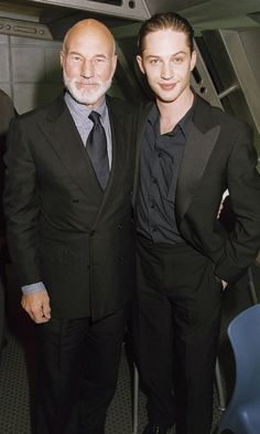A young Tom Hardy with Patrick Stewart who both starred in #StarTrekNemesis (2002)