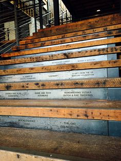 Waterjet cut steel donor system on stair risers at Wing Luke Museum, Seattle, Washington