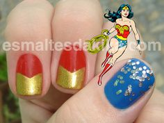 Wonder Woman Nails!!!!!  This just makes me giddy.  I love these.