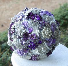 Lilac Purple Brooch Wedding Bouquet. Deposit on made to order heirloom bouquet. Broach bridal bouquet.. $75.00, via Etsy.