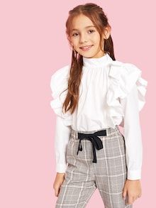 To find out about the Girls Mock-neck Ruffle Embellished Pleated Front Blouse at SHEIN, part of our latest Girls Blouses ready to shop online today! Young Girl Fashion, Preteen Girls Fashion, Girls Fashion Clothes, Kids Fashion, Fashion Outfits, Cute Girl Outfits, Kids Outfits Girls, Girls Dresses, Tween Mode