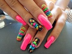 Nail Art Design Compilation * 2016 * # Nagelzusammenstellung * 2016 * # 23 Source by Bright Nail Designs, Beautiful Nail Designs, Nail Art Designs, Nails Design, Dope Nails, Neon Nails, Stiletto Nails Glitter, Neon Nail Art, Fabulous Nails
