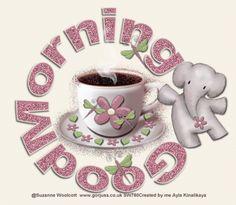 Morning Board, Good Morning Gif, Tea Cups, Tableware, Woodstock, Mornings, Snoopy, Coffee, Kaffee