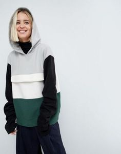 Image 1 of ASOS WHITE Colourblock Sweat Top With Ruched Sleeves