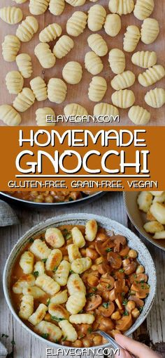 amazing gluten-free vegan gnocchi recipe is plant-based (egg-free), protein-rich (made with chickpea flour) and contains only 3 ingredients (salt and water not counted). Easy to make and healthy homemade recipe without wheat! Vegan Gnocchi Recipe, Gluten Free Gnocchi, Gluten Free Grains, Gluten Free Dinner, Vegan Gluten Free, Paleo Dinner, Dairy Free Gnocchi Recipes, Gluten Free Foods, Gluten Free Lunch Ideas