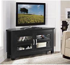 "Walker Edison W44CCRBL 44"" Black Wood Corner TV Stand Console"