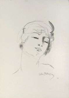 poboh:  Young girl with blond hair, Kees van Dongen. Dutch (1877 - 1968)  - lithograph in black, on wove paper -