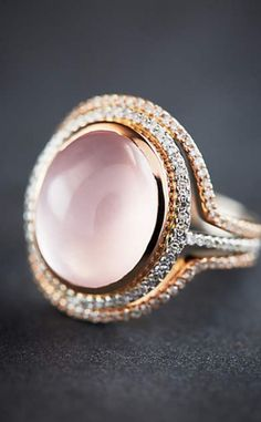 One-of-a-Kind Diamond and Rose Quartz Halo Ring in 14k Gold #anthroregistry