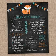 Fox First Boy Birthday Poster, Woodland, Summer Theme, DIY Printable