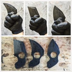 """""""New designs are coming along nicely. Straight out of heat treat. #knife #fixedblade #edc #knifecommunity #knifesale #knifetrade #knifemaking…"""""""