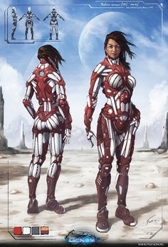 Medium Armour concept (Woman) by Manin Victor < -- More like Titon Armor. Ooo, new idea for the Survey Corp. Female Character Concept, Character Art, Character Design, Female Cyborg, Female Armor, Cyberpunk Character, Cyberpunk Art, Medium Armor, Sci Fi Armor