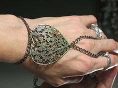 Bronze Heart Slave Bracelet Ring Filigree by TheMysticalOasisGlow, $25.00