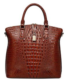 Love this Red Croc-Embossed Dione Leather Tote on #zulily! #zulilyfinds