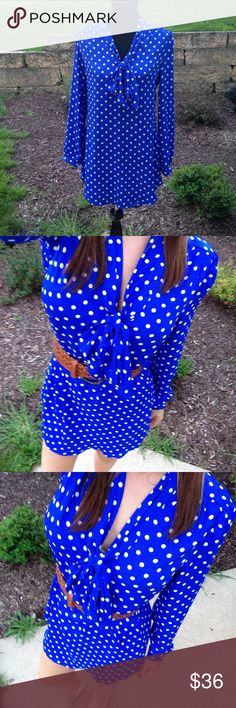 NWT Blue Polka Dot Long Shirt Dress Size M So cute! Shirt Dress Boutique Dresses