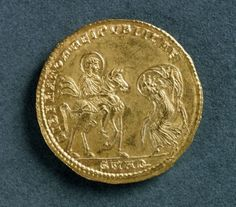 Magnentius gold medallion depicting Emperor receiving homage from Republic bowed before him, Roman coins, 4th century AD