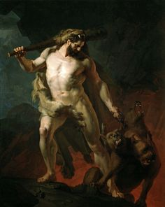 Hercules Removes Cerberus from the Gates of Hell, 1855. Johann Koler. Estonian 1826-1899. oil/canvas. http;//hadrian6.tumblr.com
