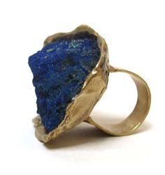 susan ritter raw azurite ring