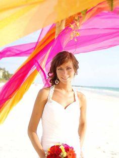 #hot pink #orange beach wedding