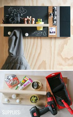Chalkboard Wall Organizer | DIY Wall Organizer Ideas | Click for 25 DIY Wall…