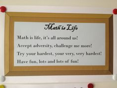 Class at SPARK Academy - TEAM Schools  Math is life poster :)