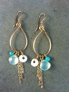 Keiki - North Shore puka shells with recycled glass leaf, turquoise and chains.