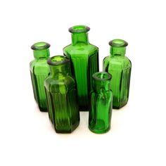 Miniature Apothecary Bottle Set, Emerald Green Glass Poison Bottle, Antique Bottle, Victorian Apothecary Bottles, Hexagonal Medicine Bottle