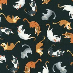 Robert Kaufman Fabrics: AXN-16342-2 BLACK by Neiko Ng from Whiskers & Tails
