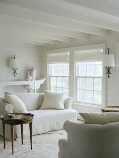 simple white would be a nice beginning for a seaside cottage ~ add some blue touches and a few beach objects