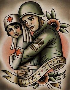 This is perfect in so many ways . Old school style soldier-military nurse tattoo design Kunst Tattoos, Body Art Tattoos, Sleeve Tattoos, Tatoos, Army Tattoos, Military Tattoos, Nurse Tattoo, Tatto Old, Traditional Tattoo Art