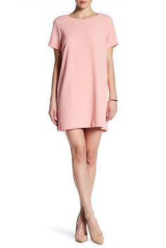 Image of Bobeau Short Sleeve Crepe Shift Dress