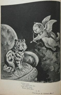 A kitten it was, That suffered like this Cupid strikes home. Beware, gentle Miss. (Keep this for St. Valentine's Day)… Art And Illustration, Cat Illustrations, Louis Wain Cats, Cats Tumblr, Tinta China, Cat Tattoo, Cat Drawing, I Love Cats, Cat Art