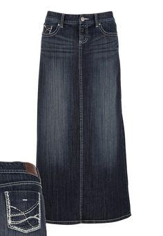 Contrast Stitch Denim Long Denim Skirt available at Modest Dresses, Modest Outfits, Skirt Outfits, Modest Fashion, Cool Outfits, Casual Outfits, Fashion Outfits, Apostolic Fashion, Fasion