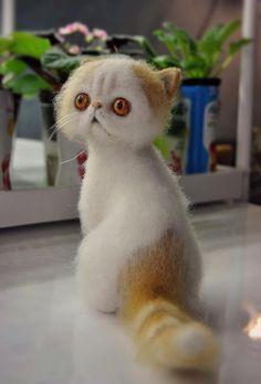 Ooak, Cute Cat Sammy, wool sculpture, needle felted, handmade #AllOccasion