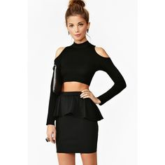 Nasty Gal Betty Peplum Skirt ($38) ❤ liked on Polyvore featuring skirts, outfits, black, nastygal, nasty gal skirts, high waisted bodycon skirt, high waisted peplum skirt, high-waisted skirts and high waist skirt