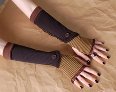 Long Brown stripes and black Lace steampunk boot Spat inspired Arm Warmers.