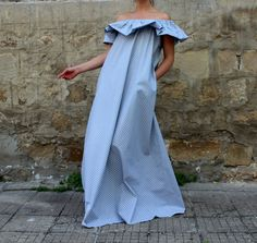 Gray Polka Dots Maxi Dress , Ruffle dress , New SPRING SUMMER 2015 Ruffle dress ,off shoulders dress , Cotton dress with pockets