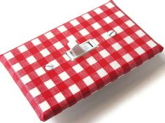 red gingham switchplate cover