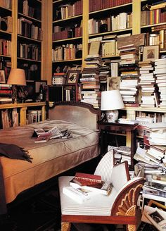 I want to one day have a room with shelfs full of books on each wall except one that will have a huge window, then a bed in the middle :)