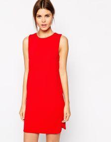 Warehouse   Warehouse Exclusive Woven Insert Shift Dress