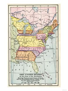 Map of the United States at the Close of the American Revolution, c.1783