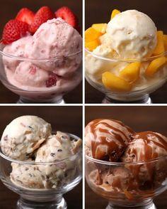 Então, resolvemos dificultar ainda mais sua vida com estes quatro sorvetes caseiros: morango, maracujá com manga, cocada e chocolate…