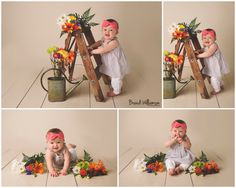 New Philadelphia Ohio Baby Photographer | 9 month old baby girl session | www.brandiwilliamsonphotography.com | baby with flowers