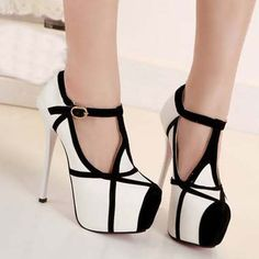 8ee2c3f46995 Buy 14 cm White Grace Sexy Party Maid Platform High Heels Fashion Women  Ankle Strappy Color Mix Shoes at Wish - Shopping Made Fun