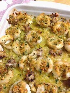 Seppioline al gratin con patate