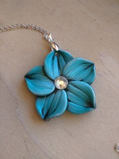 Turquoise Flower Necklace 1.5 Inches Diameter Aqua by EmilyMah